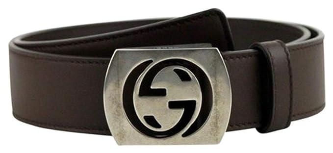 23e33c7a51f Amazon.com  Gucci Men s Cocoa Brown Leather Interlocking G Leather ...