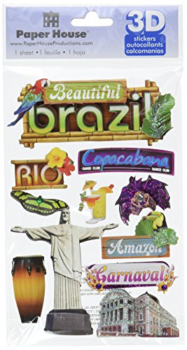 Paper House Productions STDM-0115E 3D Cardstock Stickers, Brazil