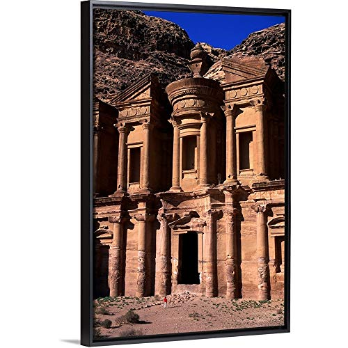 Floating Frame Premium Canvas with Black Frame Wall Art Print Entitled Al Deir or The Monastery in Petra ()