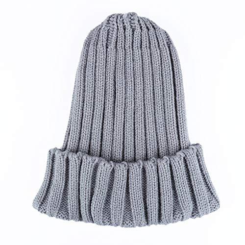 WGFGQX Unisexo Otoño E Invierno Sombrero Tejido, Color Caramelo Fluorescente Sombrero Cálido,Lightpurple gray
