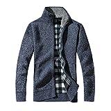 Challyhope Men Winter Knitt Stand Collar Zipper Warm Thick Sweater Jacket Cardigan