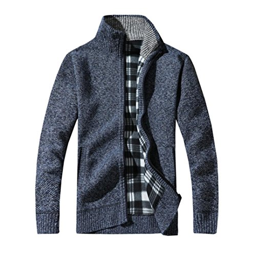 Challyhope Men Winter Knitt Stand Collar Zipper Warm Thick Sweater Jacket Cardigan
