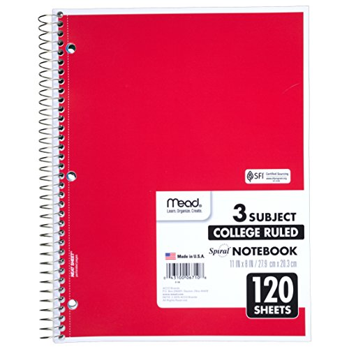 043100067108 - Mead 3-Subject Wirebound College Ruled Notebooks carousel main 1