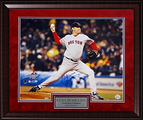 Curt Schilling Autographed Photo Framed -Bloody Sock Game 2004 - 20x24 - Autographed MLB (Curt Schilling Framed Photo)