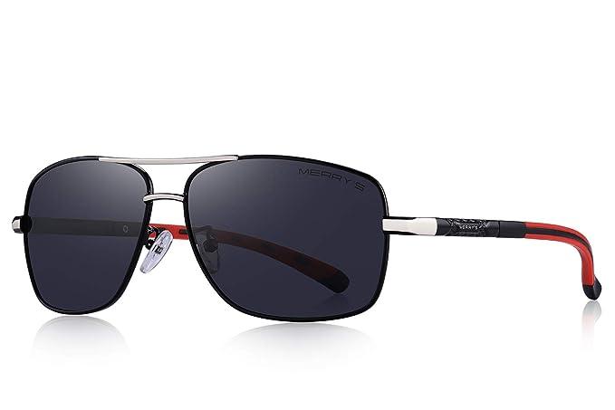bb6dc6d8b0d68 MERRY S Mens Driving Polarized Sunglasses for Men Square 45mm Sun glasses  S8714 (Black