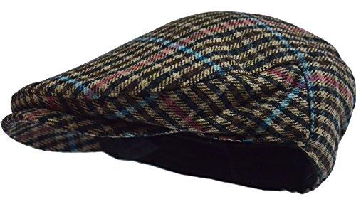 Men's Herringbone Wool Tweed Newsboy Ivy Cabbie Driving Hat (Blue Plaid) (Blue Tweed Wool)