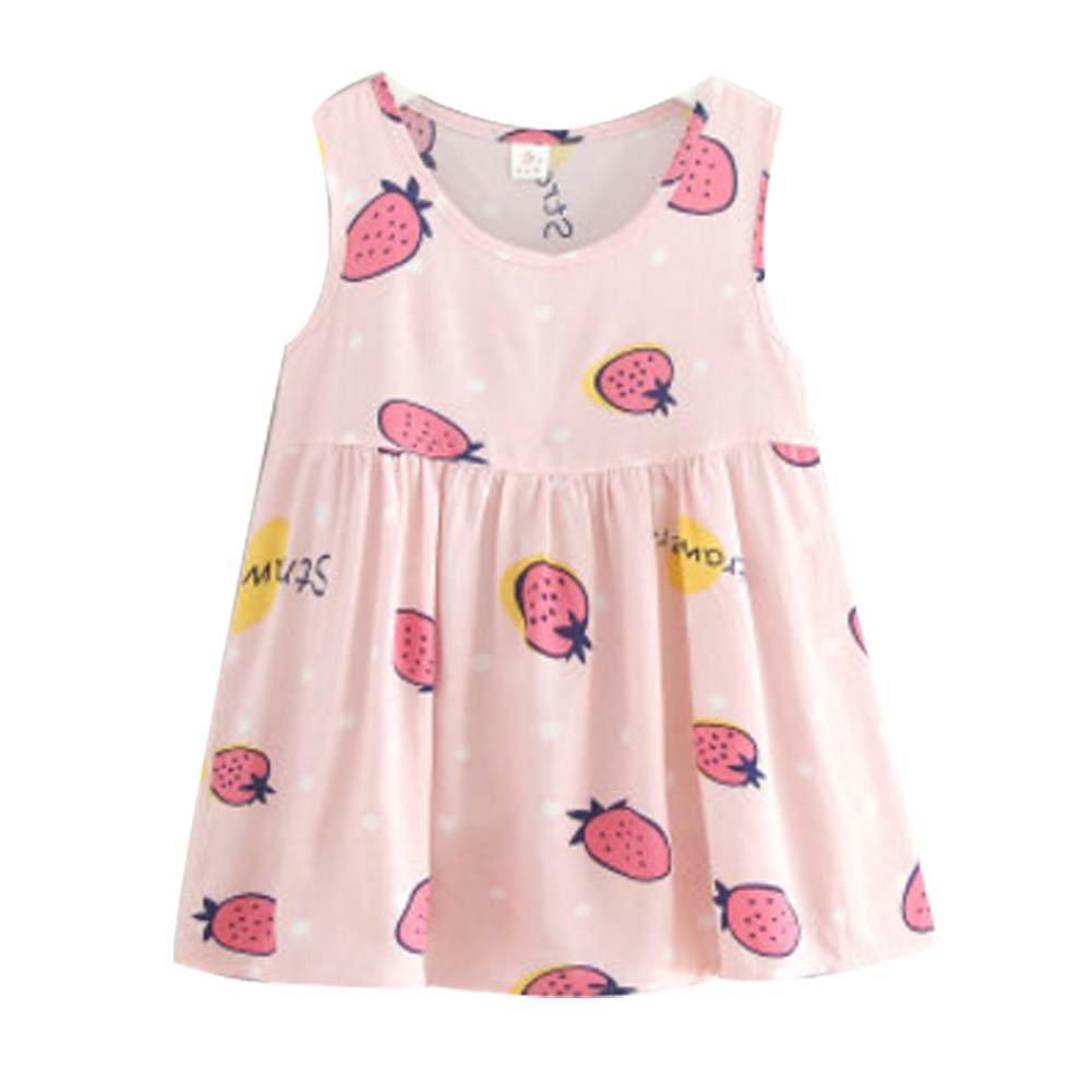 Koala Superstore [E] Kids' Pajama Home Nightdress Sleeveless Cotton Dress Vest Skirt for Girls