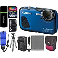 Canon PowerShot D30 Waterproof Underwater 12.1MP 5x Optical Zoom 1080p HD Video IS Digital Camera (Blue) + 32GB Card + Tripod + Float Strap + Spare Battery/Charger + Accessories Bundle Basic Facts Review Image
