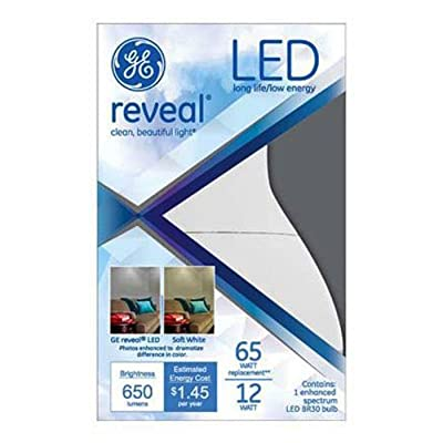 GE Lighting 95982 LED 12-watt 650-Lumen R30 Floodlight Bulb with Medium Base, Reveal, 1-Pack