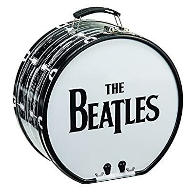 Vandor Tin Beatles Drum Tote, Black/White, 8 Inches In Diameter by 4.25 Inches Wide