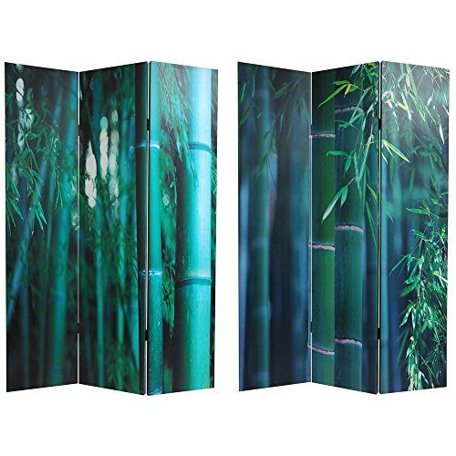 Oriental Furniture 6 ft. Tall Double Sided Bamboo Tree Canvas Room (3 Panel Folding Floor Screen)