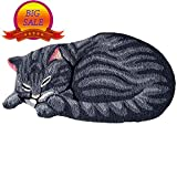 Abreeze Modern Washable Bedroom Rugs for Kids Play Cute Sleeping Cat Shaped Anti-Slip Foor Mat, 34''x18'', Grey