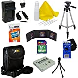 """Ideal Accessory Kit for Canon Powershot Elph 300 HS - Includes: 16 GB memory card, High Capacity NB-4L Rechargeable Replacement Battery, AC/DC (home/car) Rapid Battery chatger, 50"""" Light Weight Aluminum Photo/Video Tripod, Protective Digital Camera Carrying Case, Mini Tabletop Tripod, Memory Card Wallet, Lens Cleaning Fluid, Cleaning Cloth, Universal Screen Protectors with Squeegee Card, 5 Cotton Swabs, HeroFiber Ultra Gentle Cleaning Cloth"""