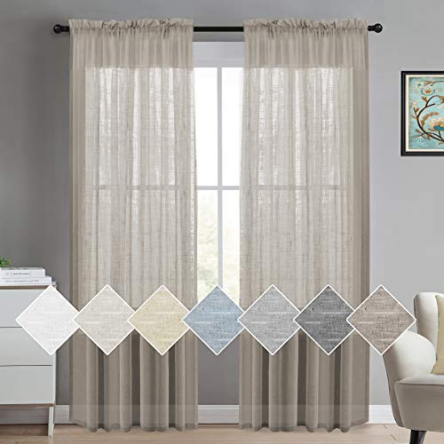 (Linen Sheer Curtains for Bedroom Living Room Window Taupe Linen Window Sheer Curtains Natural Linen Blended Extra Long Curtains/Drapes 84 inches Rod Pocket 2 Panels,)