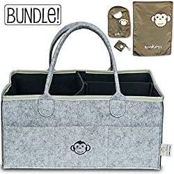 Baby Diaper Caddy Organizer & Bib Bundle (Grey)   Includes Free Bib Set (Baby bib, Changing pad and Pacifier Holder)! Great Gift for Any Registry Or Baby Shower!
