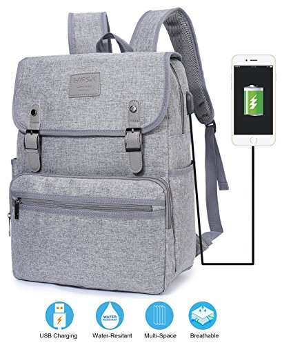 College Book Bags (Laptop Backpack Men Women Business Travel Computer Backpack School College Bookbag Stylish Water Resistant Vintage Backpack with USB Port Fashion GREY Fits 15.6 Inch Laptop and Notebook)