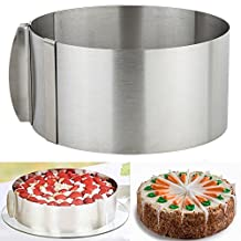 Adjustable Mousse Cake Mold, OPACC Stainless Steel 6 to 12 Inch Adjustable Round Baking Cake Mould Cake