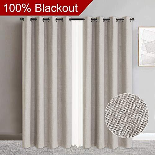 Primitive Linen Look,100% Blackout Curtains(with Liner) Blackout Curtains& Blackout Thermal Insulated Liner,Grommet Curtains for Living Room/Bedroom,Burlap Curtains-Set of 2 Panels (50x84 Beige)