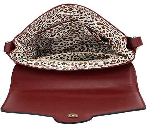 Women's Nice Celeb LeahWard 431 Cross Handbag Bag Body Bags Style Burgundy Ladies Shoulder ZwrdxrYq