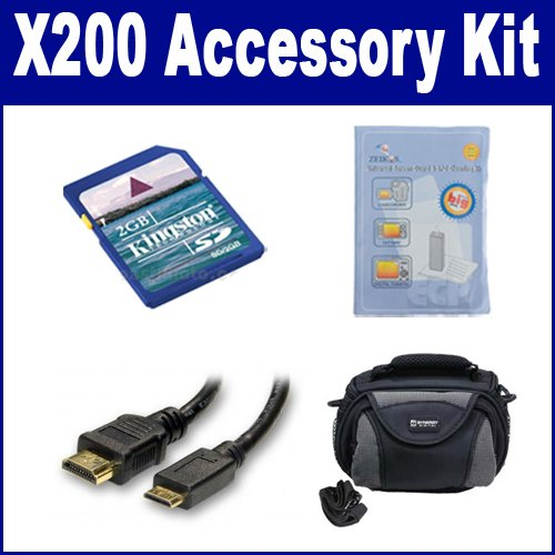 Toshiba CAMILEO X200 Camcorder Accessory Kit includes: KSD2GB Memory Card, HDMI3FM AV & HDMI Cable, ZELCKSG Care & Cleaning, SDC-26 Case by Synergy Digital