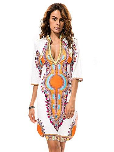 c80bb62df33 Traditional African Print Dashiki Bodycon Plus Size Short Sleeve Dress  White XXX-Large