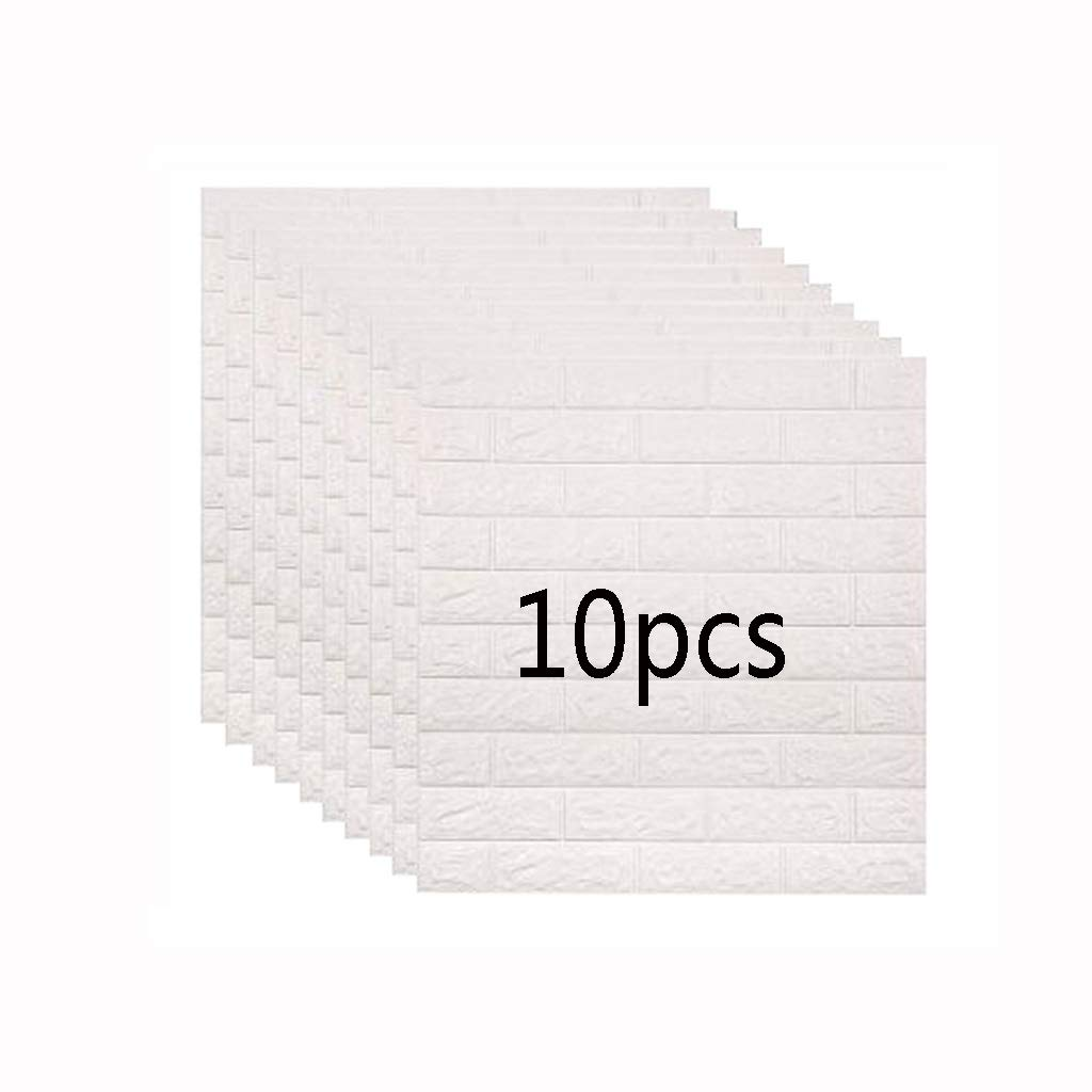 10 Pieces Of Noise Reduction PE Foam 3D Wallpaper DIY Wall Stickers Wall Decoration, Non-toxic, Odorless, Anti-collision (white)