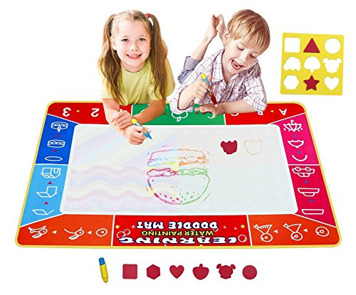 Water Drawing Mat Educational Toys Large Size Aqua Doodle Pad Reusable Mess Free Coloring 2 Magic Pens And 1 Magic Brush,Size 39.4 by 27.5 Inches