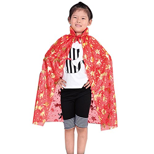 Unisex Hooded Cloak Coat Witch Robe Cape Long Halloween Cosplay Party (Red)