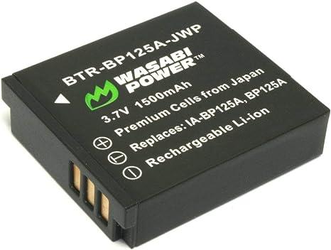 HMX-QF30 HMX-QF20 2-Pack Wasabi Power Battery HMX-Q11 HMX-Q20 HMX-Q10 HMX-Q130 IA-BP125A and Samsung HMX-M20 and Charger for Samsung BP125A HMX-Q100 HMX-T10