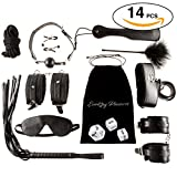 14 pcs BDSM PREMIUM QUALITY Love Bed Bondage Set Kit Restraints Straps Soft Wrist And Ankle Cuffs Fetish Sex Toys For Couples Men With BONUS Sex Dice Game By Everlong Pleasures