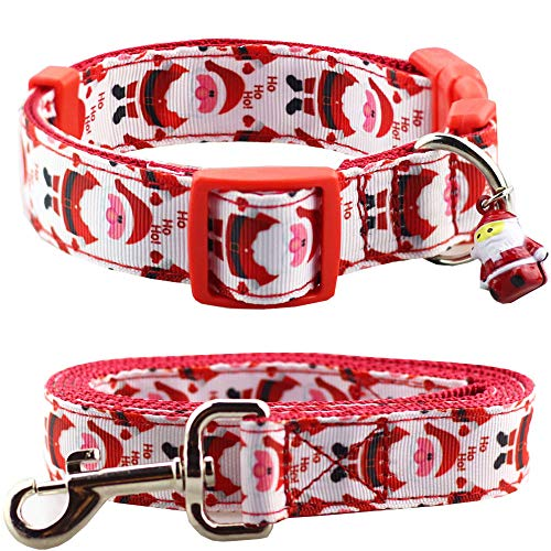 Bolbove Adjustable Pet Festive Christmas Santa Collar and Leash Set with Bell for Medium to Large Dogs Holiday Season (Large)