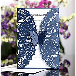Sharper Glory 25PCS Laser Cut Invitations, 4.9''x 7'' Wedding Invitations + Blank Paper + Envelopes for Wedding Bridal Shower Anniversary Birthday Party (Dark Blue)