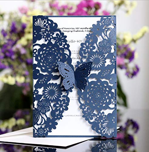 "Laser Cut Wedding Invitations 25 Pack, StarFashion 4.9""x 7"" Wedding Invitation Card Kit Butterfly with Blank Printable Papers and Envelopes for Wedding Bridal Shower Anniversary Birthday (Blue)"
