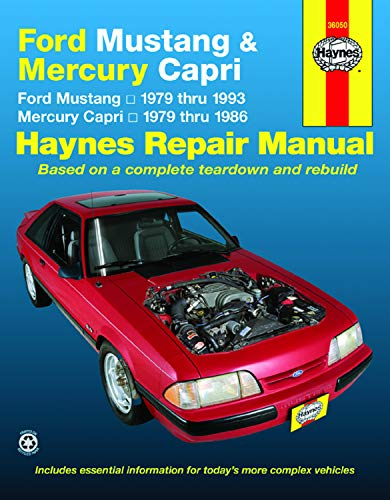 Ford Mustang, Ghia & Cobra (79-93) & Mercury Capri, Ghia & RS (79-86) with In-line 4 cyl & 6 cyl, V6 & V8 Haynes Repair Manual (Haynes Repair Manuals) (V6 Repair)