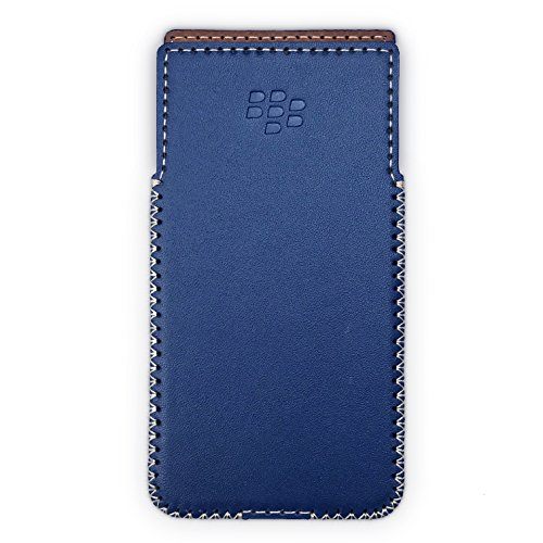 BlackBerry KeyOne Leather Case with Built-in Holster No Belt Clip (Glossy Navy) Blackberry Curve Case Holster