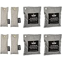 California Home Goods 8 Pack - Charcoal Deodorizer Gym Bag & Shoe Odor Neutralizer Pack (4X 200g & 4X 50g), 100% Natural Chemical-Free, Bamboo Charcoal Air Purifying Bag, Unscented Deodorizer Bags