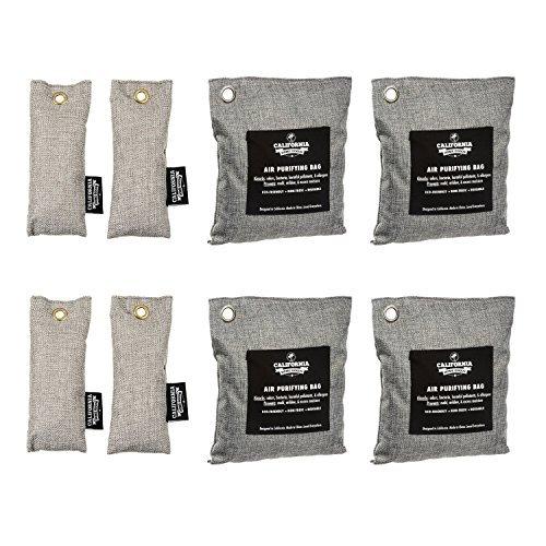 Bamboo Odor Eliminator Bags (8 Pack), Bamboo Charcoal Air Purifying Bag, Natural Air Fresheners & Odor Eliminators, Closet Dehumidifier, Car Air Purifier, Gym Bag Deodorizer, Shoe Odor Eliminator