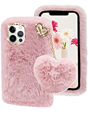 Cestor for iPhone 13 Pro Furry Case,Stylish Women Girls Cute 3D Heart Ball Chain Pendant Plush Winter Warm Faux Rabbit Fur Fluffy Silicone Shockproof Case with Diamond Bowknot,Pink