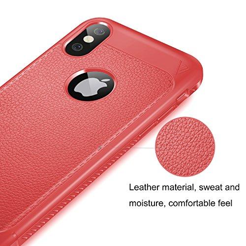 Funda iPhone X, KuGi anti-rasca la Carcasa del teléfono TPU del de la imitación ninguna Case del teléfono móvil caja del teléfono Cover para Apple iPhone X Smartphone, (Negro) Rojo