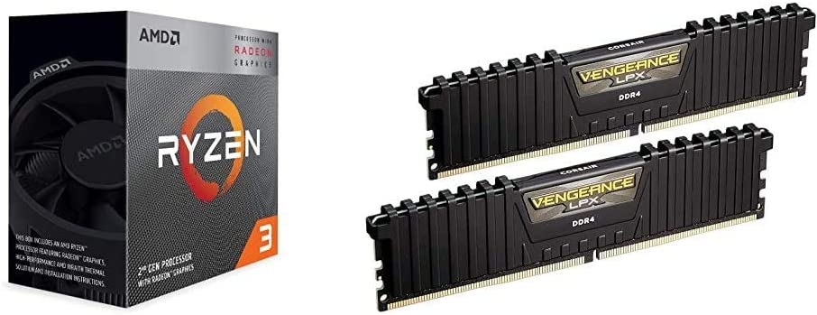 AMD Ryzen 3 3200G 4-Core Unlocked Desktop Processor with Radeon Graphics Bundle with Corsair Vengeance LPX 16GB (2x8GB) DDR4 DRAM 3000MHz C15 Desktop Memory Kit - Black (CMK16GX4M2B3000C15)
