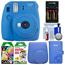 Fujifilm Instax Mini 9 Instant Film Camera (Cobalt Blue) with Case + Photo Album + 20 Twin & 10 Rainbow Prints + Batteries & Charger + Cleaning Kit