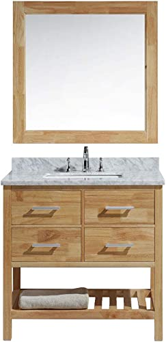 Luca Kitchen Bath LC36BOW Valencia 36 Single Vanity Set in Honey Oak with Carrara Marble Top, Sink, and Mirror
