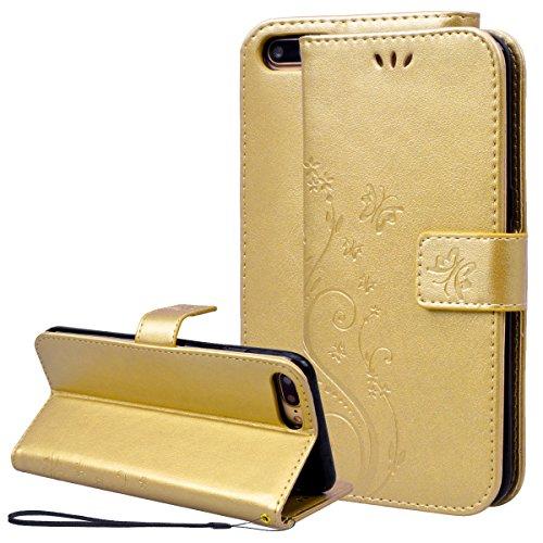 Smart Legend iPhone 7Plus Custodia Pelle Case Cover Custodia in pelle case farfalla vitigno Premium Gold Pattern Design protezione Custodia Portafoglio Custodia in pelle con cinghia da polso nuovo ac