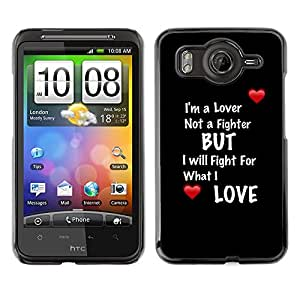 Qstar Arte & diseño plástico duro Fundas Cover Cubre Hard Case Cover para HTC Desire HD / G10 / inspire 4G( Lover Fighter Heart Text Quote Black Red)