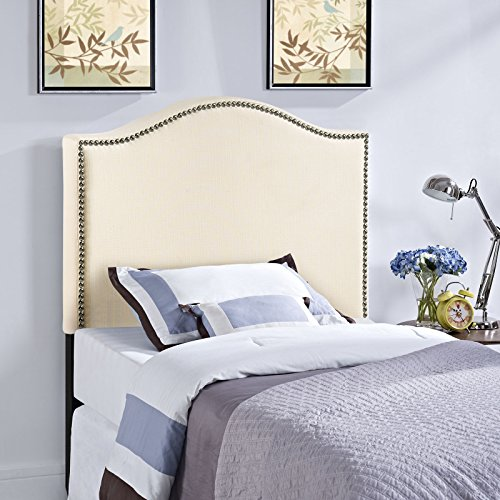 Modway Curl Upholstered Linen Fabric Twin Headboard Size With Nailhead Trim and Curved Shape in Ivory Fabric