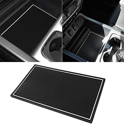 Marchfa Secret Hiding Compartment Cover for GMC Sierra 2014-2018 Chevy Silverado Accessories,Center Console Compartment Organizer Tray for Chevy Silverado 1500 2500HD 3500HD (White)
