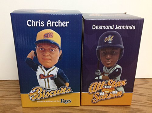 (Chris Archer and Desmond Jennings Montgomery Biscuits Promotional Stadium Bobblehead Lot SGA)