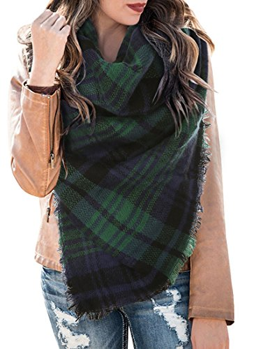 Women's Fall Winter Scarf Classic Plaid Blanket Scarf Warm Soft Chunky Large Wrap Shawl Scarves (Green Chunky Scarves)