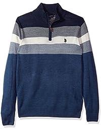 Men's Stripe Color Block V-Neck Sweater