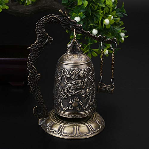 LXYFMS Lucky Chinese Buddhist Temple Dragon Copper Carved Lotus Buddha Statue Copper Dragon Bell Alloy 9x9x12.5cm Crafts by LXYFMS (Image #2)